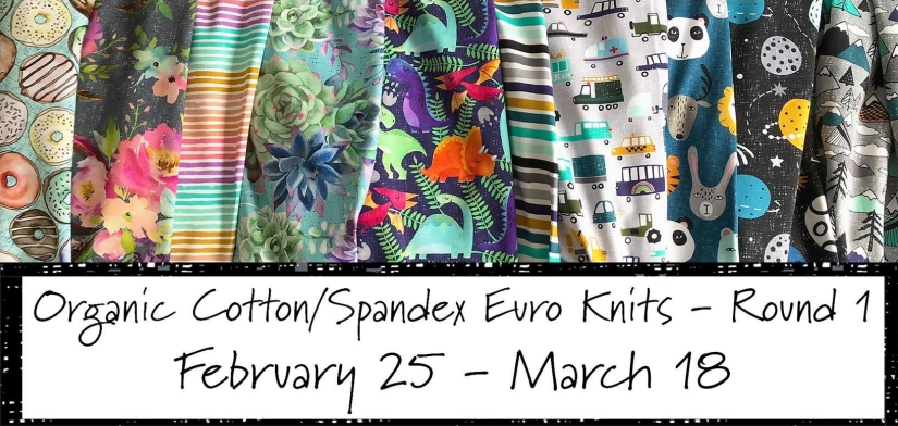 Organic cotton spandex Euro knits from Wolf & Rabbit Custom Fabrics